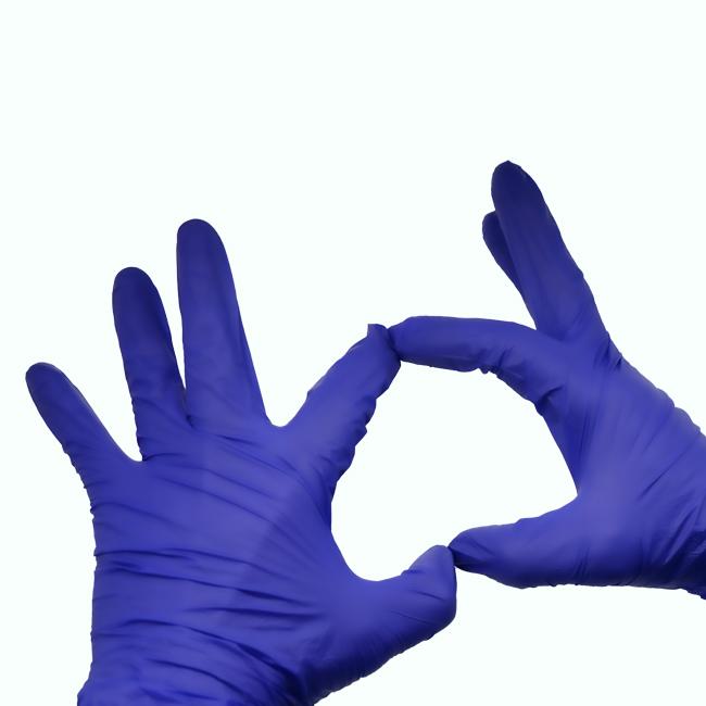 purple nitrile disposable glove